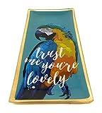 Papagei Tablett Porzellan 10x21cm Tapasschale Serviertablett Servierplatte Käseplatte Fleischteller Fleischplatte Tablett