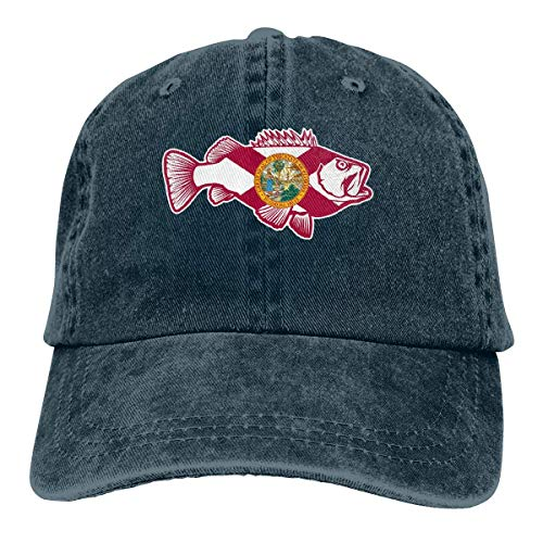 Florida FL Bass Fish Retro Adjustable Cowboy Denim Hat Unisex Hip Hop Black Baseball Caps