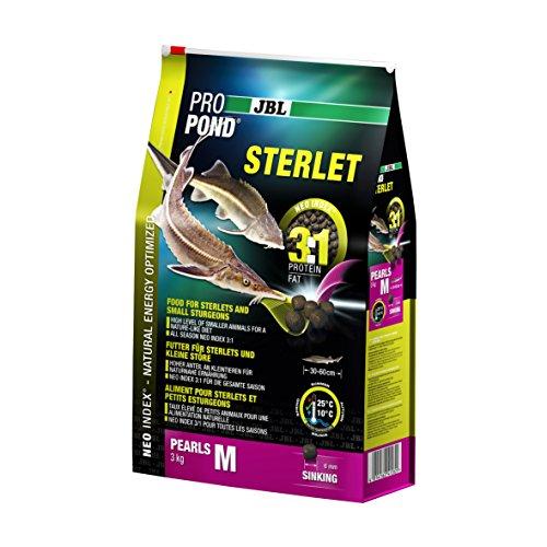 JBL Futter für Sterlets und kleine Störe, Sinkende Futterperlen, Spezialfutter, ProPond Sterlet, Größe M, 3,0 kg