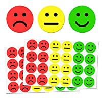 2.5cm Smiley/Sad Happy Face Stickers - Red/Yellow/Green, Pack of 1200