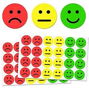 2,5cm Glücklich/Traurig Smile Aufkleber - Rot, Gelb, Grün