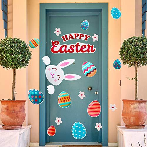 andaufkleber Häschen Ei Wandaufkleber abnehmbare Fensterklammern für Ostern Zuhause Dekoration Color 4 ()