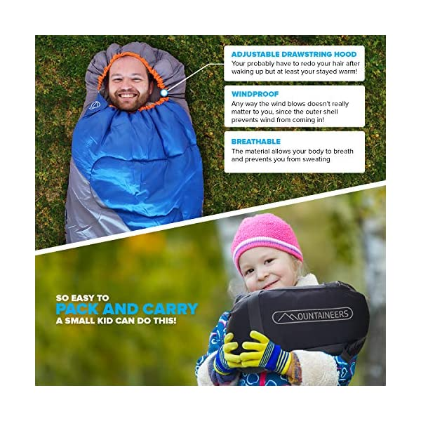 Mountaineers Outdoor Sleeping Bag, 4 Season, XL Pillow Pocket & Water Resistant Outer Shell - Including Foot Zipper… 4