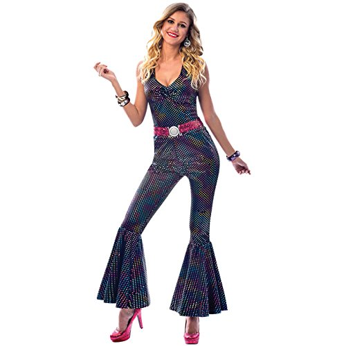 Adult 70 Disco Diva Jumpsuit Costume. Sizes 8 to 16