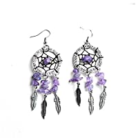 szseven Ear Studs For Girls Dream Catcher Amethyst Earrings Women Crystal Dreamcatcher Feather Metal Tassel Bohemian Ear Stud