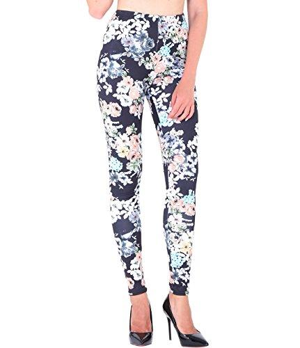Coco Fashion Damen Printed Sports Leggings Stretch Pants (EU M(Fit S-M), Sd007)