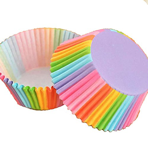 Delight eshops 100Colorful Rainbow Papier Kuchen Cupcake Liners Backen Muffin Cup Fall Party (Cupcake-fällen Wars Star)