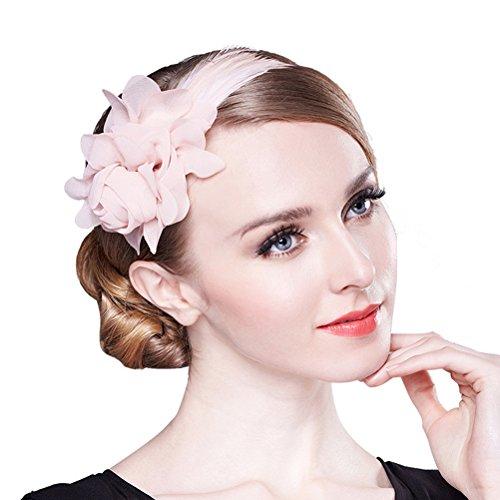 PIXNOR Frauen Mädchen Blumen und Federn Haarreifen (Rosa Strass-schleife)