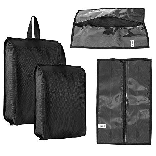 4-Pack (2 Größen) Premium Schuhtaschen 600D strapazierfähigem Nylon wasserabweisend – Schutzbeutel mit transparente Sicht und Reißverschluss - 43x23cm und 37x23cm ideal für Reisen, Koffer und Gepäck (Bag-fußball-schuhe)
