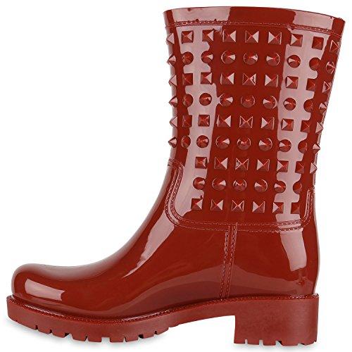 Damen Gummistiefel Lack Stiefel Profilsohle Nieten Regenschuhe Dunkelrot