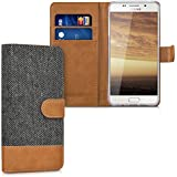 kwmobile Étui portefeuille en cuir synthétique pour Samsung Galaxy A5 (2016) - étui avec compartiment pour carte de visite et carte de crédit avec fonction support pratique en anthracite marron