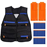 Nixikoo® Verstellbare Taktische Weste Nerf Pistole Zubehör Tactical Vest mit blau Weiche Schaumstoff Darts + Clip Magazine für Nerf Gun N-Strike Elite Series (Schwarz West + 2 * 12er Magazine + 30 Darts)