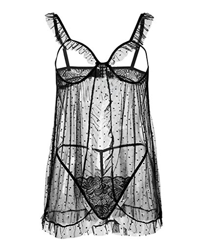 NINGMI Damen Dessous Open Cup Dot lingerie Mesh Babydoll mit G-String (Geraffte Mieder Lace)