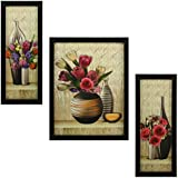 Indianara Floral Rectangular Synthetic Wood Art Painting (35 cm x 28 cm x 3 cm, Set of 3, Indr1056)