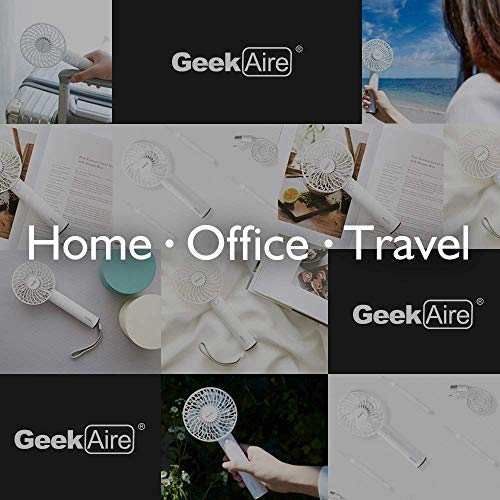 Geek Aire, 4 inch, USB Rechargeable Mini Handheld fan with 2600 mAh Battery, 5 Speed option and Table Dock (Black)