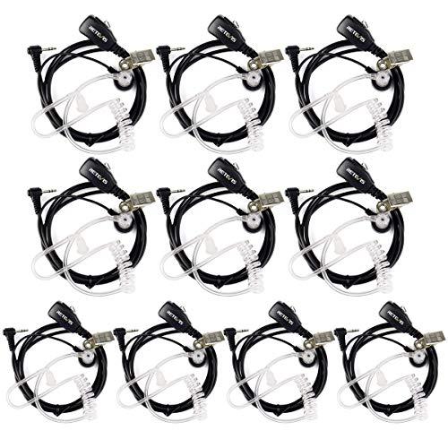 Retevis T001 Funkgeräte Headset mit Mikrofon PTT 1 Pin 2.5mm Funkgerät Zubehör Kopfhörer Kompatibel mit Walkie Talkie Retevis RT45 Motorola T6200C T5800 T7200 Cobra MT200 MT550 MT600 usw(10 STK)