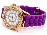 Nerd ,,New York,, Uhr in LILA mit Strass Steinen Vergoldet BU-171