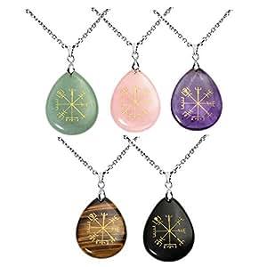 """QGEM Collier Pendentif Rune de Protection """"Vegvisir"""" Boussole Viking Nordique en Pierre Naturelle Forme Goutte d'Eau(5pcs)"""