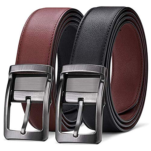 BESTKEE Men's Belt Reversible Leather Black and Brown with Swivel Polished Buckle