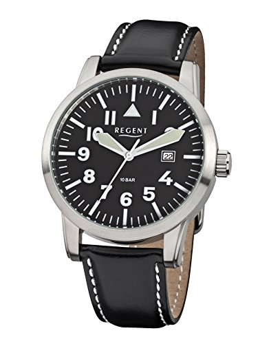Regent Herren Analog Quarz Uhr mit Leder Armband 11110685