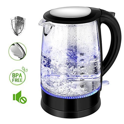Wasserkocher Glas TOPELEK BPA FREI 1500W 1.7 Liter Edelstahl LED Beleuchtung Blau Quiet-Boil-Technologie Automatische Abschaltung Überhitzungsschutz Elektrische Wasserkessel.