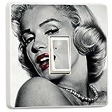 MARILYN MONROE schwarz & weiß Lichtschalter-Sticker, haut Aufkleber, Vinyl, schwarz/weiß, Single Switch