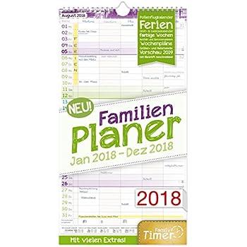 FamilienPlaner 2018 23x42cm, 5 Spalten, Wandkalender 12 Monate Jan Dez 2018 Wandplaner, Familienkalender, Ferientermine, viele Zusatzinfos