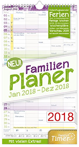 FamilienPlaner 2018 23x42cm, 5 Spalten, Wandkalender 12 Monate Jan-Dez 2018 - Wandplaner, Familienkalender, Ferientermine, viele Zusatzinfos