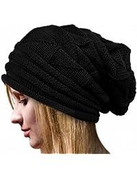 IMJONO Mujeres Crochet Invierno Gorro Punto Caliente Cozy Grande Sombrero Moda DiseñO De Lana Tejer Beanie Warm Caps