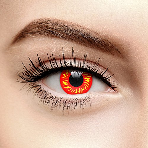 UV i-Glow Wolf Kontaktlinsen Ohne Stärke Rot (90 Tage)