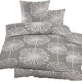 KH-Haushaltshandel 4-tlg. Biber Winter Bettwäsche 2X (135 x 200 + 80x80 cm), 100% Baumwolle, grau Blüten (40106)