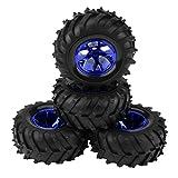 Dilwe 1:10 RC LKW Reifen, 4pcs RC Auto Reifen für 1:10 HSP, HPI, Tamiya, TRAXXAX RC Auto LKW(Blau)