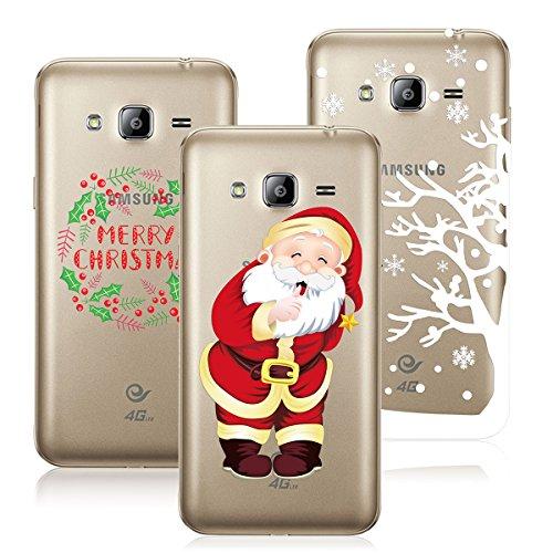 Yokata [3 Packs] Merry Christmas Serise, Samsung Galaxy J3 J300 J310 (2016 / 2015) Hülle Weihnachten, Transparent Weiche Silikon Handytasche Handyhülle Schutzhülle TPU Handy Tasche Schale Etui Weich Silicone Bumper Ultra Dünn Slim Durchsichtig Premium Kratzfest Kreative Christmas Gift Motiv Muster Clear Backcover Schutz für Galaxy J3 J300 J310 (2016 / 2015) 5,0 Zoll Case Cover - Merry Christmas + Santa + Christmas Deer White