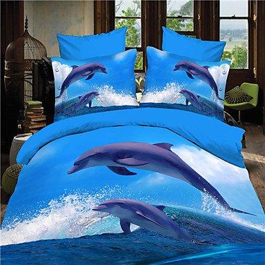 SQL 3D Dolphin Queen Bettwäsche-Set Quilt Abdeckung Blatt Bett in einem Beutel -
