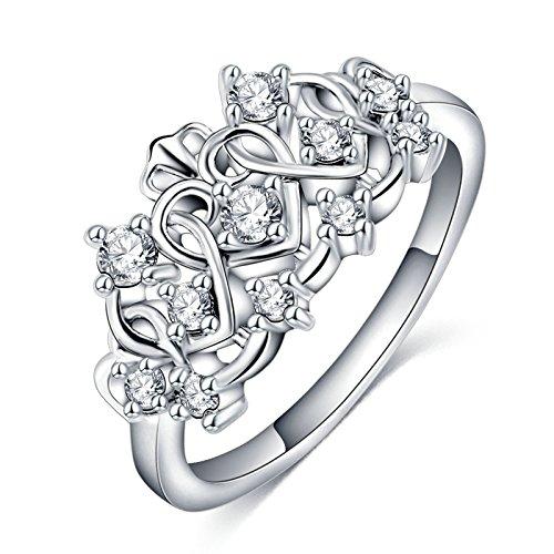BeyDoDo Modeschmuck Platiniert Damen Ring Weiß Zirkonia Herz mit Krone Partnerring Silber Ring Verlobung Ringgröße 57 (Was Eins Zwei Kostüme Junge Mädchen Und Und Was)