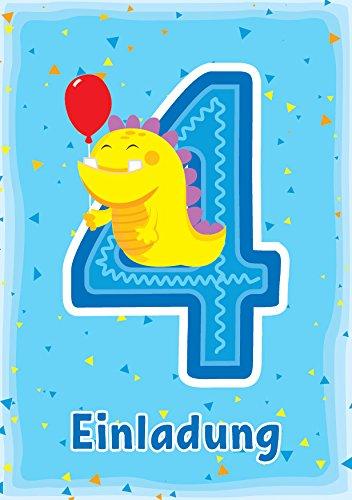 (8 Einladungskarten 4. Kindergeburtstag Jungen Mädchen lustige Monster vierte Geburtstag Geburtstagseinladungen Einladungen Geburtstagsparty Kartenset)