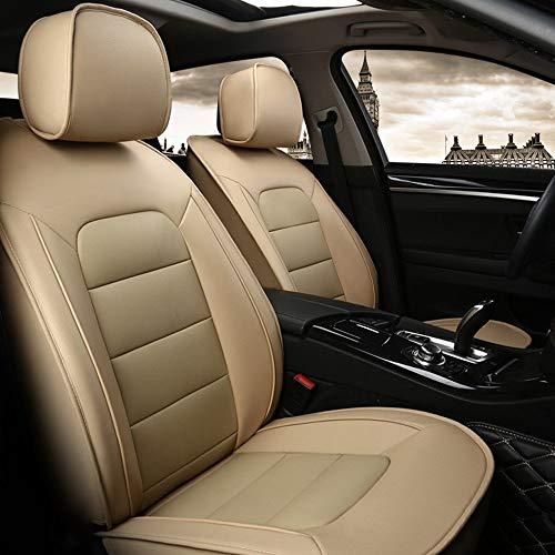 DX Autositzbezüge, Leder Full Set 5 Sitz der Universal-Auto-Innen Zubehör Kompatible Airbag Four Seasons Universal-Breath Kuhfell Schutzkissen (Color : Beige)
