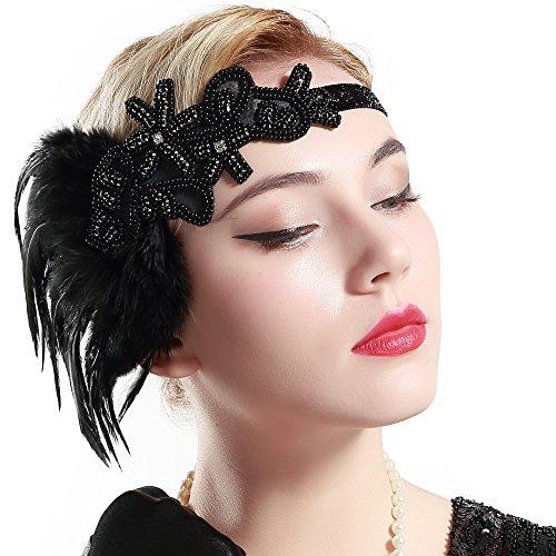 Damen Stirnband mit Feder Inspiriert von Der Große Gatsby Accessoires für Damen Freie Größe (Schwarz Stil 1) (Der Große Gatsby Motto Kostüme)