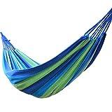 Hängematte | Sommer Outdoor & Indoor | Aus Buntem Leinenstoff | Balkon, Garten, Camping Ultraleicht | 200 x 150 cm, 200 kg Belastbarkeit | Blau