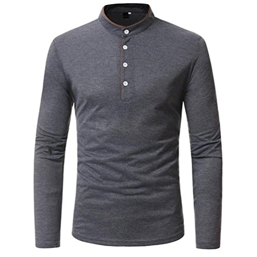 (Herren Sweatshirt Slim Fit Kanpola Shirt Männer Rundhals Langarm T-Shirt Bluse Sport Casual Oberteile Pullover Langarmshirt)