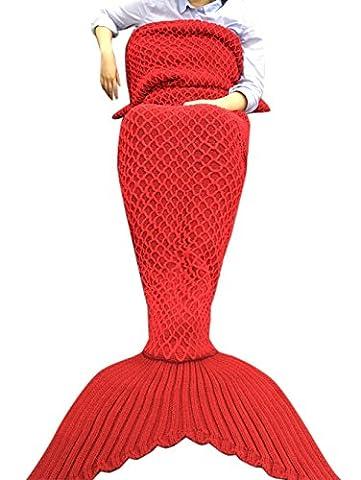 iEFiEL Mädchen Damen Kostüm Meerjungfrau Fischschwanz Decke Schwanz Flosse Handgemachte Schlafsack Blanket Kostüm Häkel Erwachsene Decke (Erwachsene Größe, Dunkles (Handgemachte Halloween-kostüme Für Erwachsene)