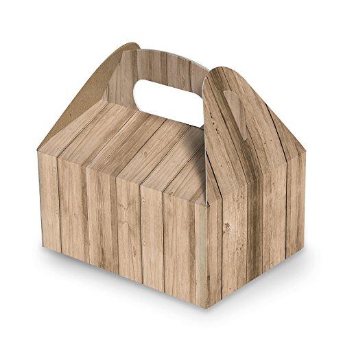 10 Stück Geschenkkarton Geschenk-Schachtel Verpackung natur hell-braun Holz-Optik 9 x 12 x 6 cm Lunchbox Präsentbox Karton natürlich Verpacken Produkte Weihnachten