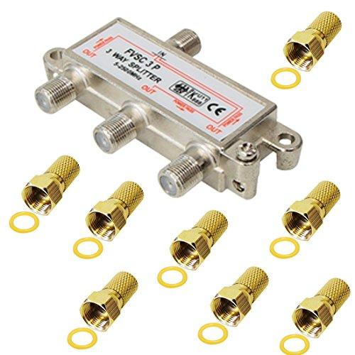 3-fach Verteiler/Splitter inkl. 8 F Stecker; für Sat, Kabel TV, DVB T und UKW; HDTV; Metall-Gussgehäuse
