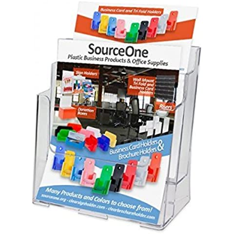 Source One Large 2 Tier Premium Acrylic Magazine Rack / Brochure Holder (S1-LG-2TIER) by Sourceone