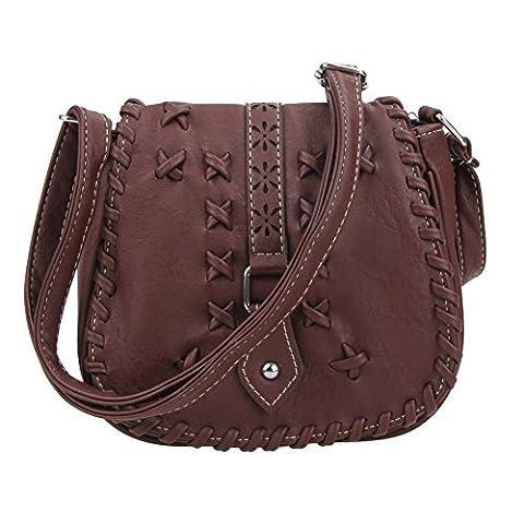 La Cabina Femme PU Cuir Rétro Mini-sac à Bandoulière Vintage Epaule Sacoche Pochette Portefeuille Creuse Tressé (brun