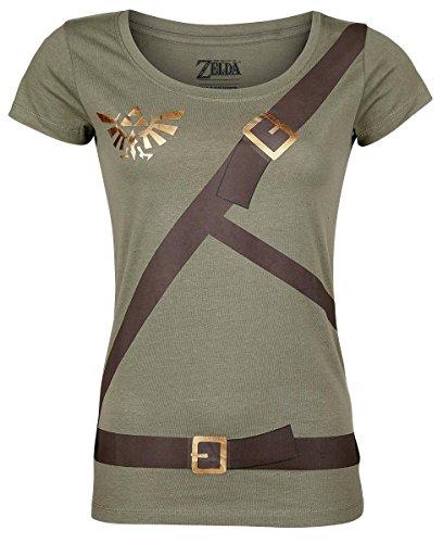 The Legend of Zelda Link Belt Girl-Shirt oliv, M [Edizione: Germania]
