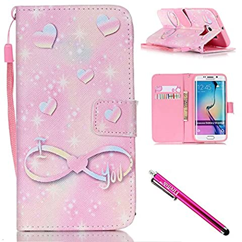 Galaxy S6 edge Case, Firefish [Kickstand] Design [Card/Cash Slots] Premium PU Leather Wallet Flip Cover with Wrist Strap for Samsung Galaxy S6 edge-Love