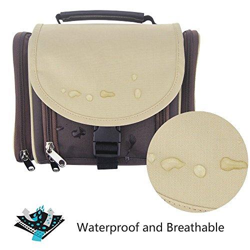 TRAVELMALL-Bolsa de aseo Impermeable,portatil,plegable,compacto y amplio -bolsa de maquillaje cosmetico multifuncional -alta calidad (Café) (Café)