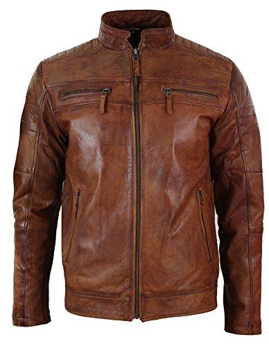 Blouson homme veste cuir véritable style biker couleur marron clair effet vieilli vintage et matelassage