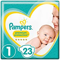 Pampers Premium Protection Baby Windeln, Gr.1 Newborn (2-5 kg), Tragepack, 4er Pack (4 x 23 Stück)